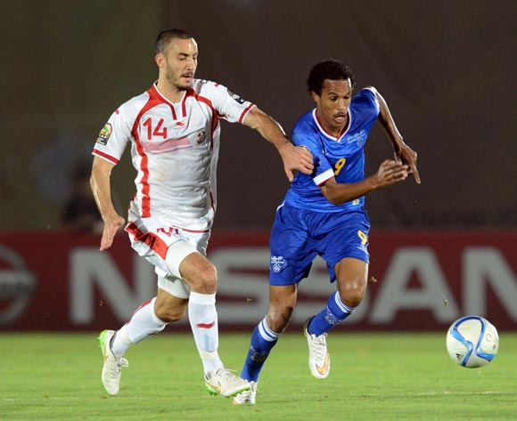 Jailton Miranda of Cape Verde battles with Houcine Nater of Tunisia during of the 2015 Africa Cup of Nations match between Tunisia and Cape Verde at Ebibeyin Stadium, Equatorial Guinea on 18 January 2015