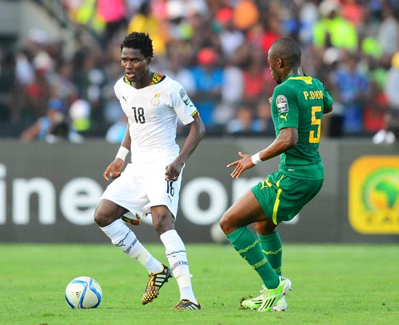 Daniel Amartey of Ghana and Papa Kouli Diop of Senegal during the 2015 Africa Cup of Nations football match between Ghana and Senegal at the Mongomo Stadium in Mongomo, Equatorial Guinea on 19 January 2015