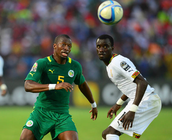 Papa Kouli Diop of Senegal and Rabiu Mohammed of Ghana during the 2015 Africa Cup of Nations football match between Ghana and Senegal at the Mongomo Stadium in Mongomo, Equatorial Guinea on 19 January 2015