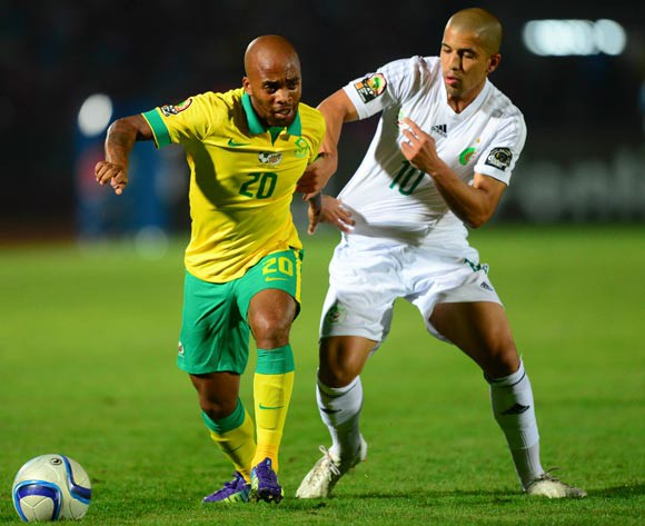 Oupa Manyisa of South Africa and Sofiane Feghouli of Algeria during the 2015 Africa Cup of Nations football match between Algeria and South Africa at the Mongomo Stadium in Mongomo, Equatorial Guinea on 19 January 2015