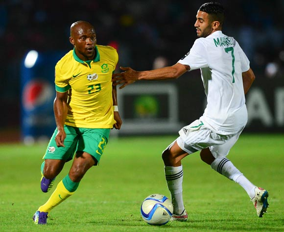 Tokelo Rantie of South Africa and Riyad Mahrez of Algeria during the 2015 Africa Cup of Nations football match between Algeria and South Africa at the Mongomo Stadium in Mongomo, Equatorial Guinea on 19 January 2015