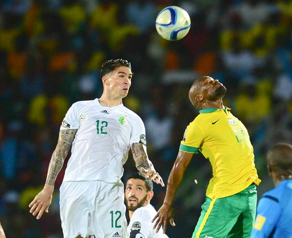 Carl Medjani of Algeria and Tokelo Rantie of South Africa during the 2015 Africa Cup of Nations football match between Algeria and South Africa at the Mongomo Stadium in Mongomo, Equatorial Guinea on 19 January 2015
