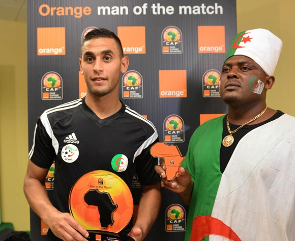 Faouzi Ghoulam of Algeria is Orange Man of the Match during the 2015 Africa Cup of Nations football match between Algeria and South Africa at the Mongomo Stadium in Mongomo, Equatorial Guinea on 19 January 2015