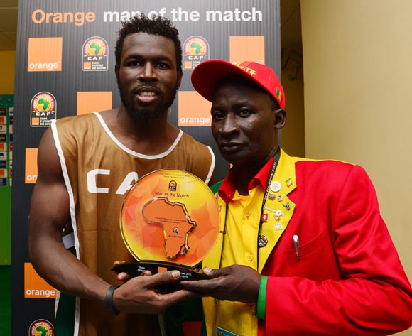 Mame Birame Diouf of Senegal receives Orange Man of the Match award from the Orange fan of the Match during the 2015 Africa Cup of Nations football match between Ghana and Senegal at Mongomo Stadium, Mongomo, Equatorial Guinea on 19 January 2015