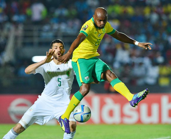 Tokelo Rantie of South Africa (r) controls ball from Rami Bedoui of Tunisia (l) during the 2015 Africa Cup of Nations football match between Algeria and South Africa at Mongomo Stadium, Mongomo, Equatorial Guinea on 19 January 2015