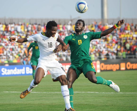 Daniel Amartey of Ghana  battles with Mame Birame Diouf of Senegal  during of the 2015 Africa Cup of Nations match between Senegal and  Ghana at Mongomo Stadium, Equatorial Guinea on 19 January 2015
