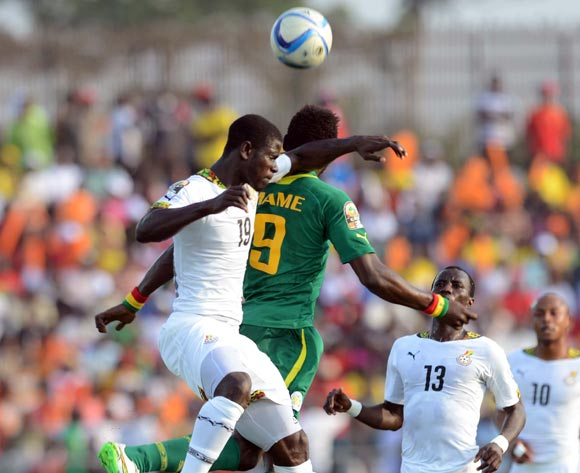 Jonathan Mensah of Ghana battles with Mame Birame Diouf of Senegal  during of the 2015 Africa Cup of Nations match between Senegal and  Ghana at Mongomo Stadium, Equatorial Guinea on 19 January 2015