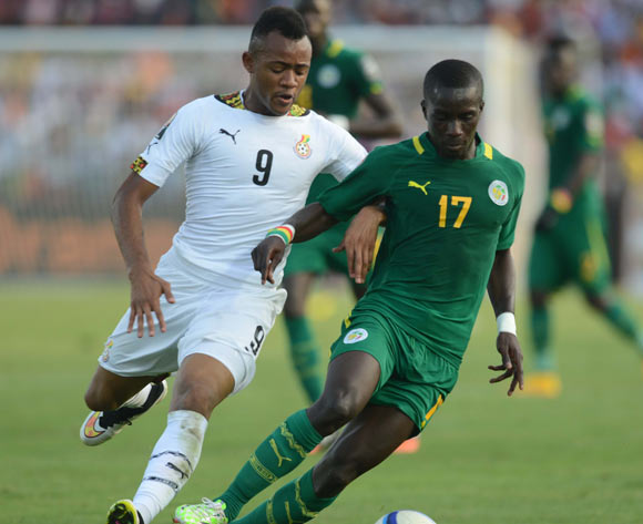 Jordan Ayew of Ghana battles with Idrissa Gana Gueye of Senegal  during of the 2015 Africa Cup of Nations match between Senegal and  Ghana at Mongomo Stadium, Equatorial Guinea on 19 January 2015