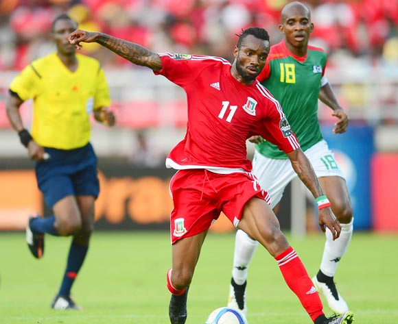 Javier Balboa of Equatorial Guinea and Charles Kabore of Burkina Faso during the 2015 Africa Cup of Nations football match between Equatorial Guinea and Burkina Faso at the Bata Stadium in Bata, Equatorial Guinea on 21 January 2015