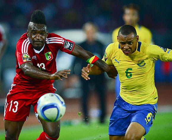 Thievy Koulossa Bifouma of Congo  and Johann Obiang of Gabon during the 2015 Africa Cup of Nations football match between Gabon and Congo at the Bata Stadium in Bata, Equatorial Guinea on 21 January 2015 ©Barry Aldworth/BackpagePix