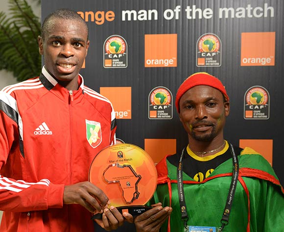 Prince Oniangue of Congo is Orange Man of the Match during the 2015 Africa Cup of Nations football match between Gabon and Congo at the Bata Stadium in Bata, Equatorial Guinea on 21 January 2015 ©Barry Aldworth/BackpagePix