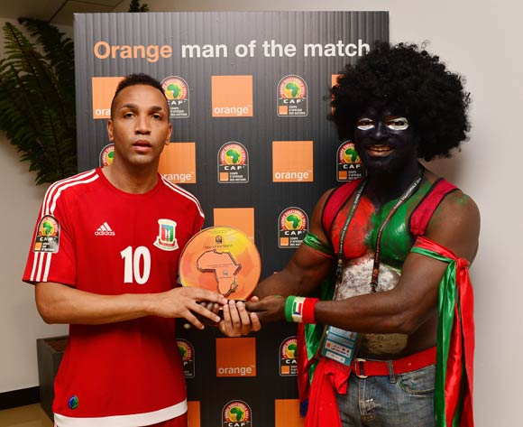 Emilio Nsue of Equatorial Guinea receives Orange Man of the Match award from the Orange Fan of the Match  during the 2015 Africa Cup of Nations football match between Equatorial Guinea and Burkina Faso, at Bata Stadium, Bata, Equatorial Guinea on 21 January 2015