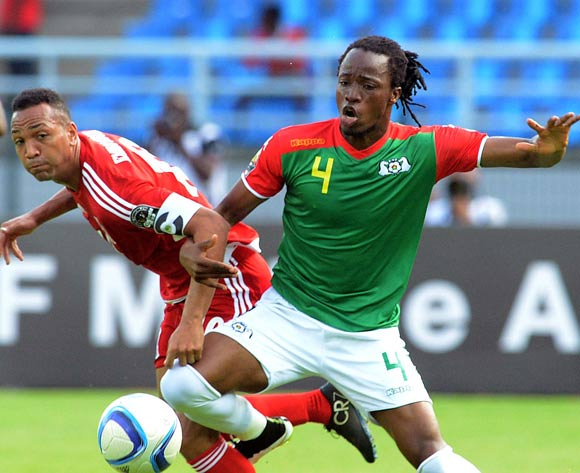 Emilio Nsue of Equatorial Guinea  battles with Bakary Kone of Burkina Faso during of the 2015 Africa Cup of Nations match between Equatorial Guinea and Burkina Faso at Bata Stadium, Equatorial Guinea on 21 January 2015
