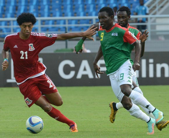 Issa Gouo of Burkina Faso battles with Ivan Zarandona Esono of Equatorial Guinea   during of the 2015 Africa Cup of Nations match between Equatorial Guinea and Burkina Faso at Bata Stadium, Equatorial Guinea on 21 January 2015