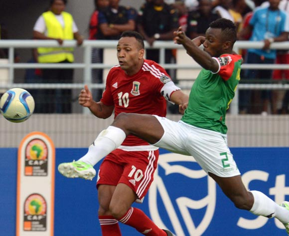 Emilio Nsue of Equatorial Guinea battles with Steeve Yago of Burkina Faso during of the 2015 Africa Cup of Nations match between Equatorial Guinea and Burkina Faso at Bata Stadium, Equatorial Guinea on 21 January 2015