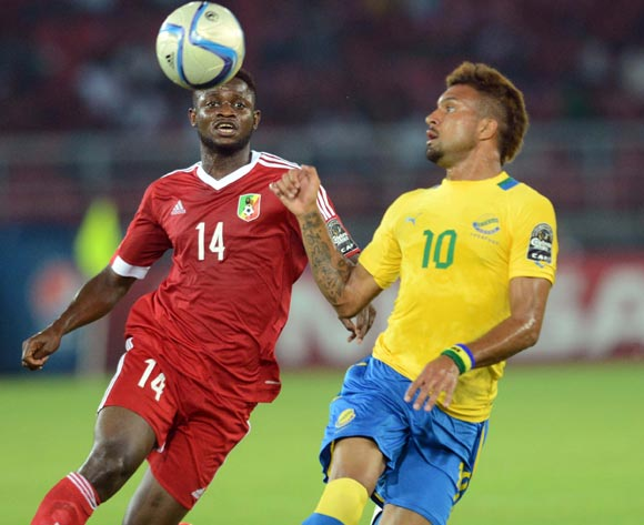 Frederic Bulot of Gabon battles with Cesair Gandze of Congo during of the 2015 Africa Cup of Nations match between Gabon and Congo at Bata Stadium, Equatorial Guinea on 21 January 2015