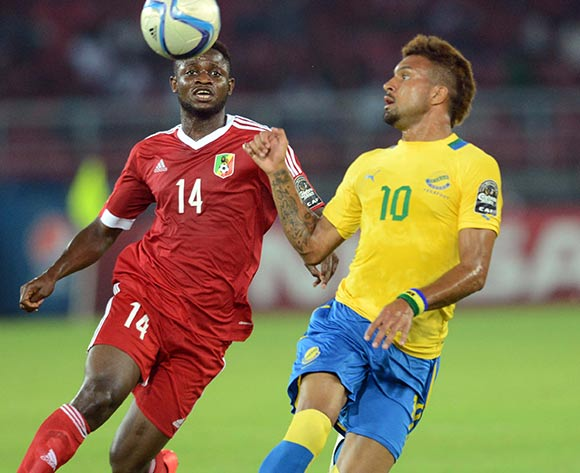 Frederic Bulot of Gabon battles with Cesaire Gandze of Congo during of the 2015 Africa Cup of Nations match between Gabon and Congo at Bata Stadium, Equatorial Guinea on 21 January 2015 Pic Sydney Mahlangu/BackpagePix