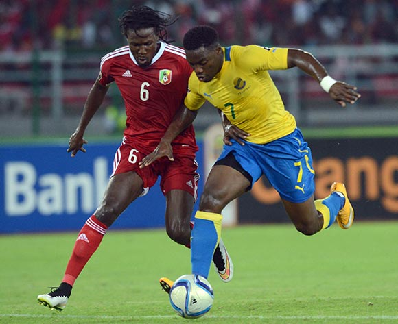Dimitri Magnoleke Bissiki of Congo  battles with Malick Evouma of Gabon during of the 2015 Africa Cup of Nations match between Gabon and Congo at Bata Stadium, Equatorial Guinea on 21 January 2015 Pic Sydney Mahlangu/BackpagePix
