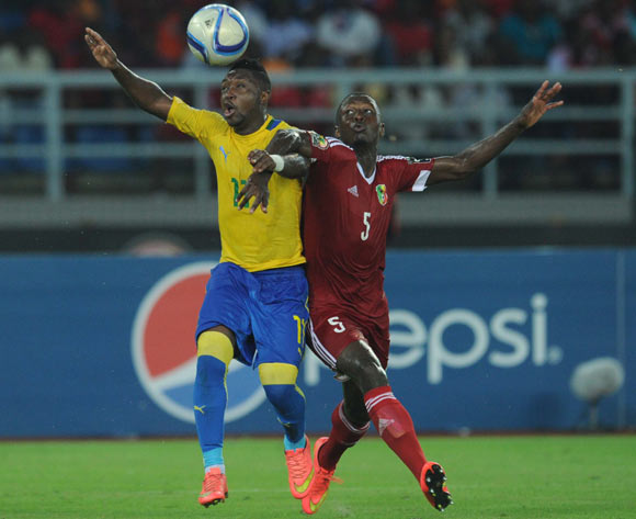 Levy Madinda of Gabon battles with Arnold Moutou of Congo during of the 2015 Africa Cup of Nations match between Gabon and Congo at Bata Stadium, Equatorial Guinea on 21 January 2015