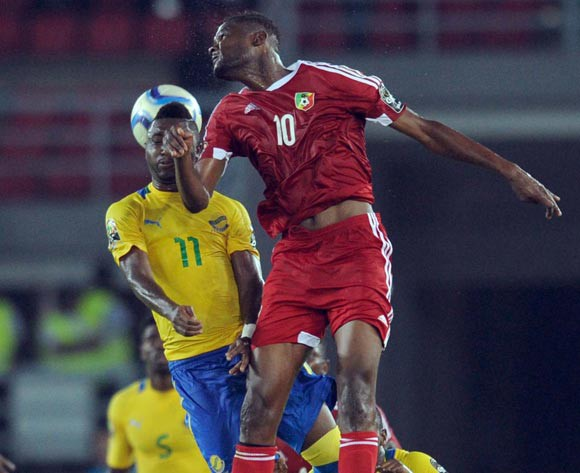 Levy Madinda of Gabon battles with Fode Dore of Congo during of the 2015 Africa Cup of Nations match between Gabon and Congo at Bata Stadium, Equatorial Guinea on 21 January 2015