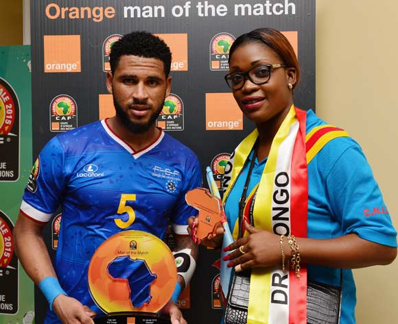 Elvis Babanco Macedo of Cape Verde receives Orange Man of the Match award from the Orange Fan of the Match during the 2015 Africa Cup of Nations football match between Cape Verde and DR Congo at the Ebibeyin Stadium, Ebibeyin, Equatorial Guinea on 22 January 2015