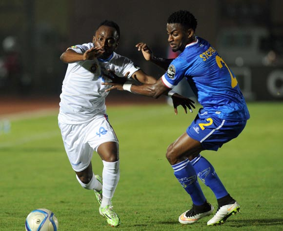 Ianique Stopira Tavares of Cape Verde battles with Cedric Mabwati of DR Congo   during of the 2015 Africa Cup of Nations match between Cape Verde and DR Congo at Ebibeyin Stadium, Equatorial Guinea on 22 January 2015