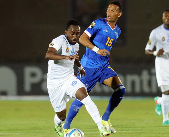 Nuno Rocha of Cape Verde  battles with Cedric Mabwati of DR Congo during of the 2015 Africa Cup of Nations match between Cape Verde and DR Congo at Ebibeyin Stadium, Equatorial Guinea on 22 January 2015
