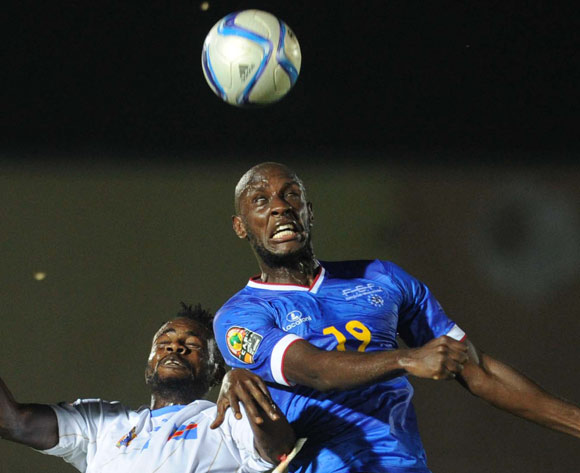 Julio Tavares of Cape Verde battles with Issampa Djos of DR Congo during of the 2015 Africa Cup of Nations match between Cape Verde and DR Congo at Ebibeyin Stadium, Equatorial Guinea on 22 January 2015