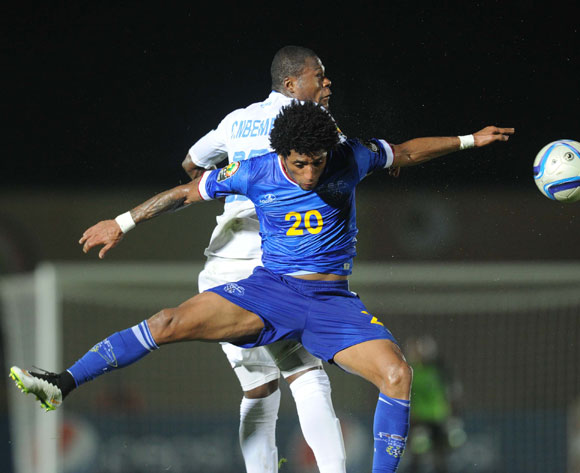 Ryan Mendes of Cape Verde battles with Chancel Mbemba of DR Congo during of the 2015 Africa Cup of Nations match between Cape Verde and DR Congo at Ebibeyin Stadium, Equatorial Guinea on 22 January 2015