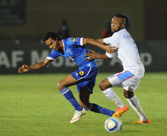 Jailton Kuca Miranda of Cape Verde battles with Jean Kilitsho Kasusula of DR Congo     during of the 2015 Africa Cup of Nations match between Cape Verde and DR Congo at Ebibeyin Stadium, Equatorial Guinea on 22 January 2015 Pic Sydney Mahlangu/BackpagePix