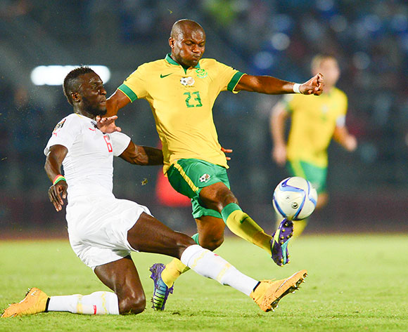 Tokelo Rantie of South Africa and Ludovic Sane of Senegal during the 2015 Africa Cup of Nations football match between South Africa and Senegal at the Mongomo Stadium in Mongomo, Equatorial Guinea on 23 January 2015 ©Barry Aldworth/BackpagePix
