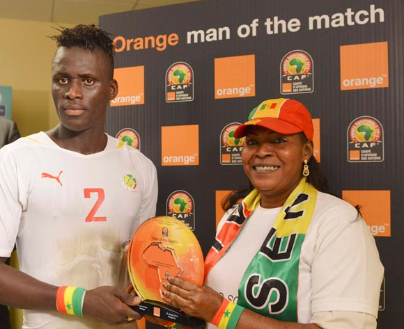 Kara Mbodj of Senegal is Orange Man of the Match during the 2015 Africa Cup of Nations football match between South Africa and Senegal at the Mongomo Stadium in Mongomo, Equatorial Guinea on 23 January 2015