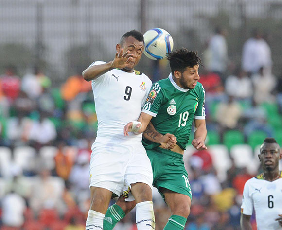 Jordan Ayew of Ghana battles withSaphir Taider of Algeria during of the 2015 Africa Cup of Nations match between Ghana and Senegal at Mongomo Stadium, Equatorial Guinea on 23 January 2015 Pic Sydney Mahlangu/BackpagePix