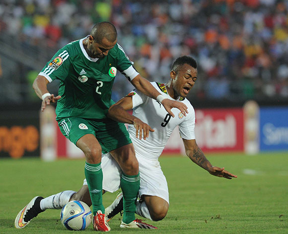 Jordan Ayew of Ghana    battles with Madjid Bouguerra of Algeria  during of the 2015 Africa Cup of Nations match between Ghana and Senegal at Mongomo Stadium, Equatorial Guinea on 23 January 2015 Pic Sydney Mahlangu/BackpagePix