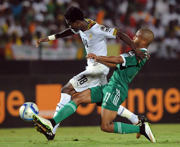 Daniel Amartey of Ghana battles with Yacine Brahimi of Algeria during of the 2015 Africa Cup of Nations match between Ghana and Senegal at Mongomo Stadium, Equatorial Guinea on 23 January 2015