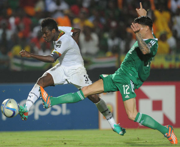Asamoah Gyan of Ghana scores the winner during of the 2015 Africa Cup of Nations match between Ghana and Senegal at Mongomo Stadium, Equatorial Guinea on 23 January 2015
