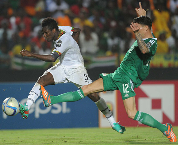 Asamoah Gyan of Ghana scores the winner    during of the 2015 Africa Cup of Nations match between Ghana and Senegal at Mongomo Stadium, Equatorial Guinea on 23 January 2015 Pic Sydney Mahlangu/BackpagePix