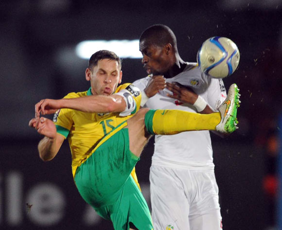 Dean Furman of South Africa battles with Papa Kouli Diop of Senegal during of the 2015 Africa Cup of Nations match between South Africa and Senegal at Mongomo Stadium, Equatorial Guinea on 23 January 2015