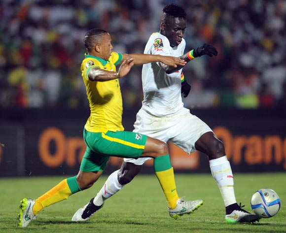 Andile Jali of South Africa  battles with Kara Mbodji of Senegal during of the 2015 Africa Cup of Nations match between South Africa and Senegal at Mongomo Stadium, Equatorial Guinea on 23 January 2015