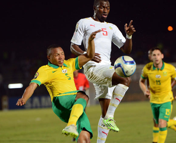 Andile Jali of South Africa  battles with Papa Kouli Diop of Senegal during of the 2015 Africa Cup of Nations match between South Africa and Senegal at Mongomo Stadium, Equatorial Guinea on 23 January 2015