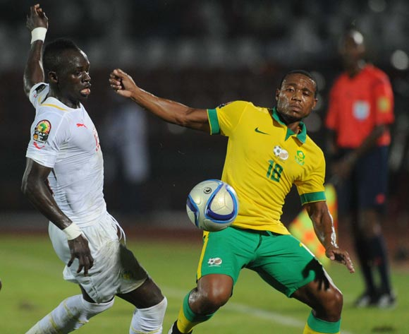 Sadio Mane of Senegal battles with Thuso Phala of South Africa   during of the 2015 Africa Cup of Nations match between South Africa and Senegal at Mongomo Stadium, Equatorial Guinea on 23 January 2015