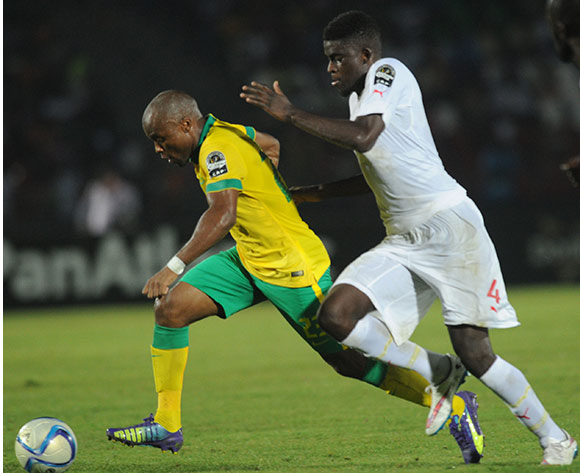Tokelo Rantie of South Africa battles with Alfred Ndiaye of Senegal    during of the 2015 Africa Cup of Nations match between South Africa and Senegal at Mongomo Stadium, Equatorial Guinea on 23 January 2015 Pic Sydney Mahlangu/BackpagePix