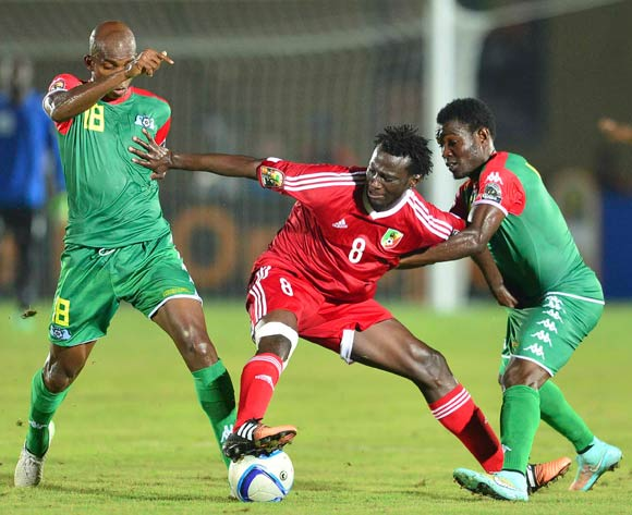 Charles Kabore of Burkina Faso and Delvin Ndinga of Congo during the 2015 Africa Cup of Nations South Africa football match between Congo and Burkina Faso at the Ebibeyin Staium in Ebibeyin, Equatorial Guinea on 25 January 2015