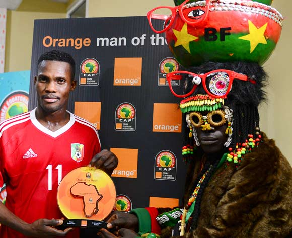 Fabrice Ondama of Congo is Orange Man of the Match during the 2015 Africa Cup of Nations South Africa football match between Congo and Burkina Faso at the Ebibeyin Staium in Ebibeyin, Equatorial Guinea on 25 January 2015