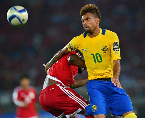 Frederic Bulot of Gabon wins header against Enrique Boula Senobua of Equatorial Guinea   during the 2015 Africa Cup of Nations football match between Gabon and Equatorial Guinea at Bata Stadium, Bata, Equatorial Guinea on 25 January 2015 ©Gavin Barker/BackpagePix