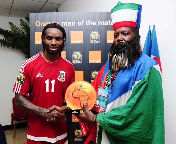 Javier Balboa of Equatorial Guinea receives Orange Man of the Match award from the Orange Fan of the Match  during the 2015 Africa Cup of Nations football match between Gabon and Equatorial Guinea at Bata Stadium, Bata, Equatorial Guinea on 25 January 2015