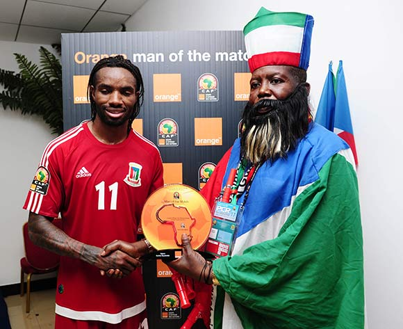 Javier Balboa of Equatorial Guinea receives Orange Man of the Match award from the Orange Fan of the Match  during the 2015 Africa Cup of Nations football match between Gabon and Equatorial Guinea at Bata Stadium, Bata, Equatorial Guinea on 25 January 2015 ©Gavin Barker/BackpagePix