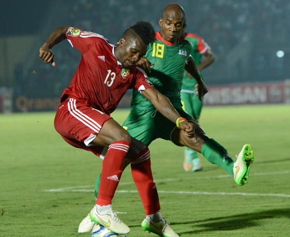 Charles Kabore of Burkina Faso  battles with Thievy Koulossa Bifouma of Congo  during of the 2015 Africa Cup of Nations match between Congo and Burkina Faso at Ebibeyin Stadium, Equatorial Guinea on 25 January 2015