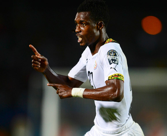 John Boye of Ghana celebrates equalising during the 2015 Africa Cup of Nations football match between South Africa and Ghana at the Mongomo Stadium in Mongomo, Equatorial Guinea on 27 January 2015