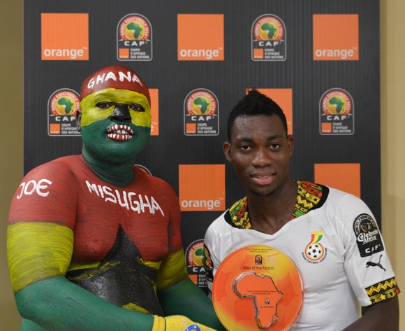 Christian Atsu of Ghana is Orange Man of the Match during the 2015 Africa Cup of Nations football match between South Africa and Ghana at the Mongomo Stadium in Mongomo, Equatorial Guinea on 27 January 2015